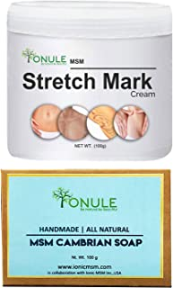 Ionule MSM Stretch Mark Cream with Cambrian Soap for Men and Women Combo Pack of 2 - (2 X 90 gm)