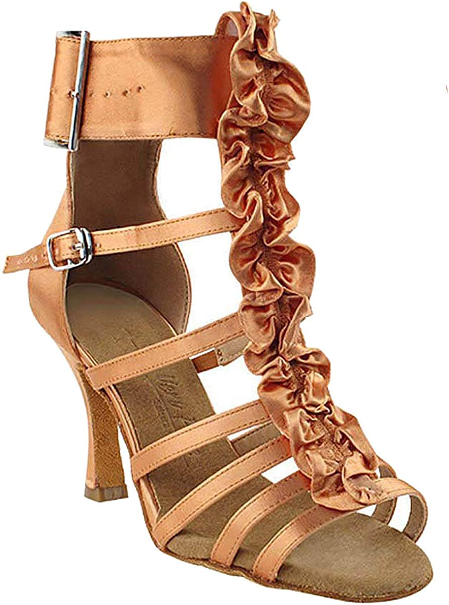 Women's Ballroom Dance Shoes Tango Wedding Salsa Dance Shoes Tan Satin Sera7026EB Comfortable - Very Fine 2.5