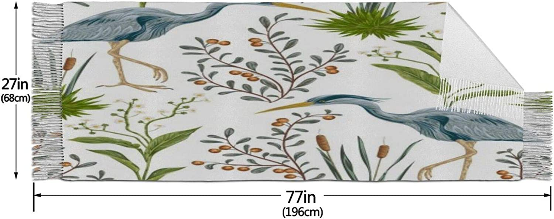 Cashmere fringed scarf Heron Bird Swamp Plants winter extra large scarf