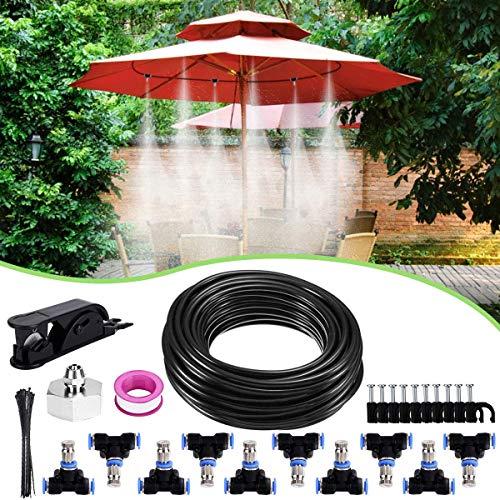 Weeygo Kit Nebulizador Jardin, Sistema de Nebulizacion para Terraza Pergola Exterior, DIY Enfriamiento Nebulizadores con 10 Boquilla (10M)