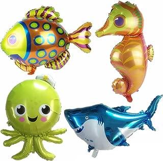 AnnoDeel 4 pcs Large Sea Animal Balloons, 38inch Cartoon Sea Horse Balloon/Octopus Balloon/Shark Balloon/Tropical Fish Balloons for Kid Birthday Party Decorations