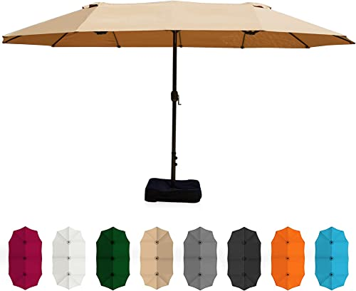 high quality BELLEZE 15 Ft Extra Large Outdoor Market Patio Umbrella Double-Sided lowest Design with Crank, Umbrella Base 2021 Included, Tan outlet sale