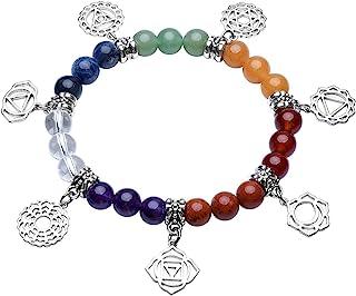 Top Plaza 7 Chakra Healing Bracelets with Real Stones Mala Yoga Meditation Bracelets for Protection, Energy Healing