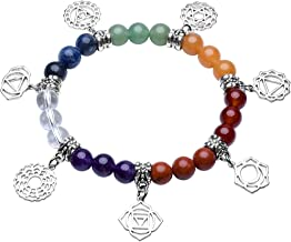 Top Plaza 7 Chakra Healing Bracelets Real Stones Mala Yoga Meditation Bracelets Protection, Energy Healing