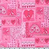 Timeless Treasures Hearts of Hope Quilt Fabric by the Yard, Pink