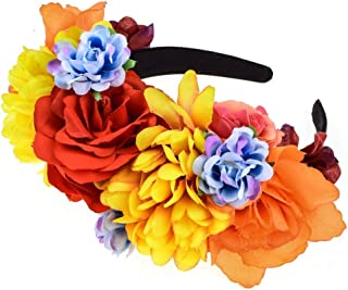 Vividsun Day of The Dead Headband Costume Rose Mexican Flower Headband