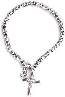 Molike Fashion Italian Rosary Cross Bead Link Chain Bracelet, Charm Adjustable Jewelry for Women Girls