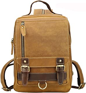 Large Capacity Retro Crazy Horse Leather Men's Backpack/Multifunctional Outdoor Travel Backpack Leather Student Bag Well-Made Size 23 * 9 * 32cm Dynamic (Color : Beige)