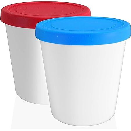 LIN Bac à Glace avec Couvercle, 2 pièces - Pot à Glace de 1L rond et réutilisable pour les crèmes glacées fait-maison, vos sorbets, yogourts glacés et le stockage général des aliments