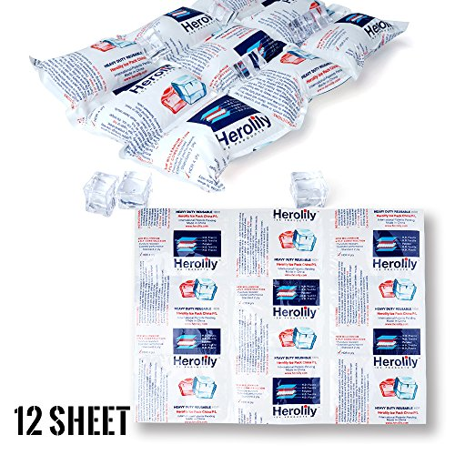 HEROLILY Reusable Ice Sheets Packs Flexible Freeze Coolers Long Lasting for Food Shipping Hiking Camping Outdoor 152quot x 111quot 4 Ply Refreezable Pain Relief Cold Therapy Cold Pack 12 Sheets