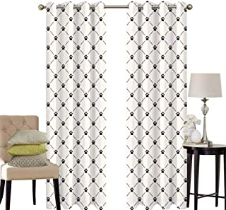 hengshu Cat Bedroom Curtains Blackout Shades Classical Checkered Pattern with Cat Kitty Dog Paws Footprints Geometrical Cute Design Darkening Drapes for Bedroom W52 x L95 Inch Cream Black