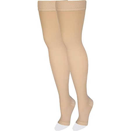 NuVein Medical Compression Stockings, 20-30 mmHg Support, Women & Men Thigh Length Hose, Open Toe, Beige, Medium