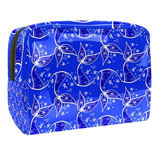 Bolsa de maquillaje de PVC para mujer y niña, organizador de artículos de tocador cosméticos, bolsa de 17 x 7 x 5 cm, peces y hojas de loto en el estanque, color 20, 18.5x7.5x13cm/7.3x3x5.1in, Neceser