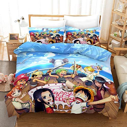 ONE PIECE - Juego de 3 piezas de ropa de cama para niños, edredón con personajes de juegos impresos en 3D de anime, funda nórdica para adolescentes, microfibra funda nórdica y 2 fundas de almohada