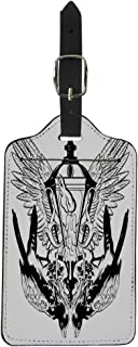 Semtomn Luggage Tag Falcon and Lantern Melting Candle Wings Surreal Tattoo Suitcase Baggage Label Travel Tag Labels