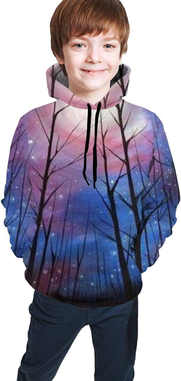 Boys Girls Hoodie, Starry Night Forest Unisex 3D Printing Teenager Sweatshirt Kids Children's Sweater for Age 7-20