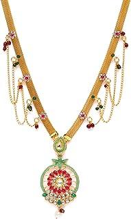 Zaveri Pearls Green & Pink Bridal Collection Kundan Kamarpatta or Waist Belt for Women-ZPFK10299