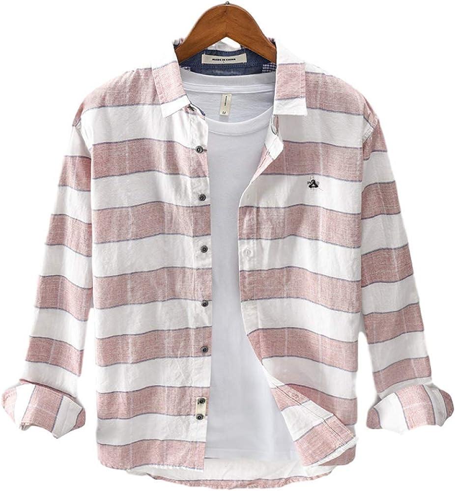 Men's Cardigan Casual Fashion Large Size Cotton Plaid Square Collar Long Sleeve