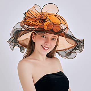 Women's Organza UV-Anti Church Derby Hat Fascinator Tea Party Wedding Hat Ruffles Wide Brim Bridal Cap