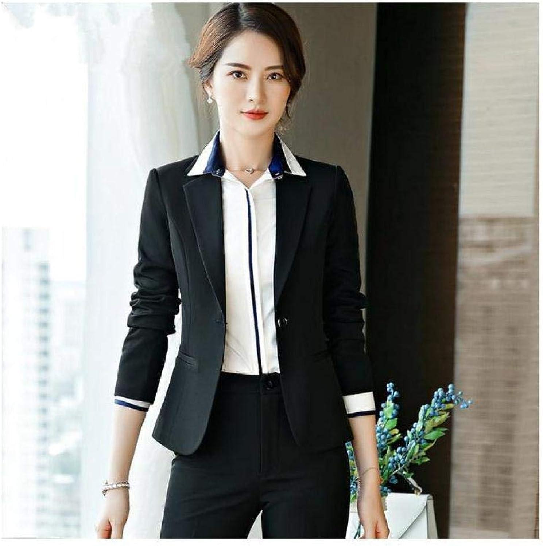 XUBA Elegant Office Lady Business Suits for Women 2 Two Piece Sets Female Blazer Jacket & Straight Pants Skirt Plus Size Suit Women 7 XL
