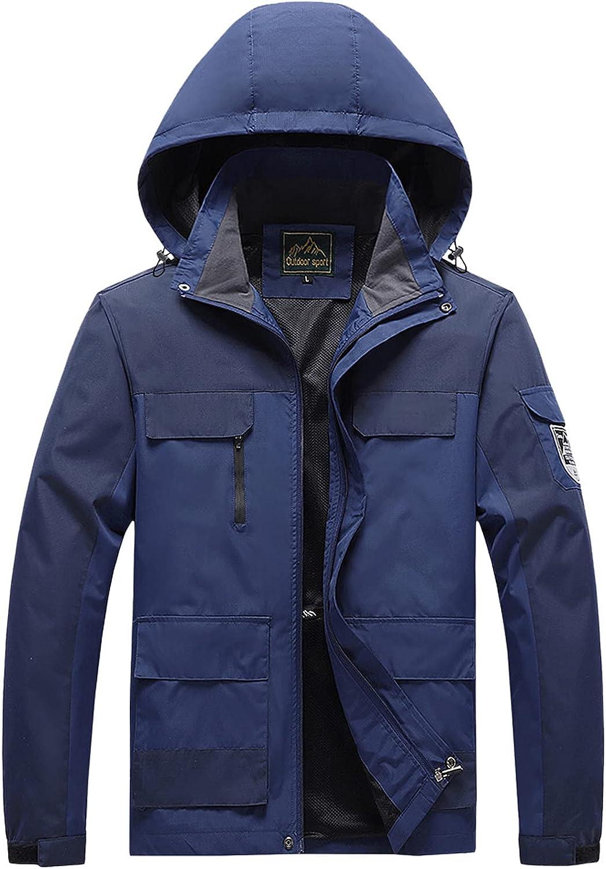 Men's Outdoor Color Splice Detachable Hat Zipper Pocket Water Repellency Coat