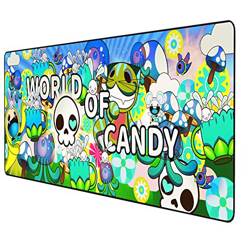 Anime Mouse pad Extended Large Gaming Mousepad Desk Graffiti Keyboard Mat with Stitched Edges,Anti-Slip Rubber Base 31.5×11.8 inches (Green)
