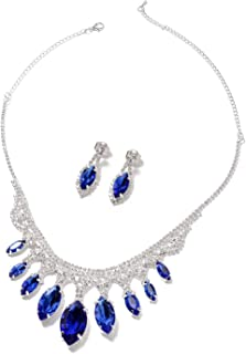 """Shop LC Delivering Joy Dangle Drop Earrings Necklace Set Blue Glass White Crystal Jewelry Size 21"""" Ct 105.8"""