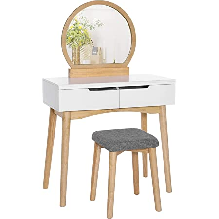 VASAGLE Vanity Table, Makeup Vanity Desk with Rounded Mirror, 2 Drawers, Vanity Set with Upholstered Stool, for Bathroom, Bedroom, Girls Vanity for Gift, Natural and White URDT11K