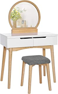 VASAGLE Vanity Table, Makeup Vanity Desk with Rounded Mirror, 2 Drawers, Vanity Set with Upholstered Stool, for Bathroom, ...