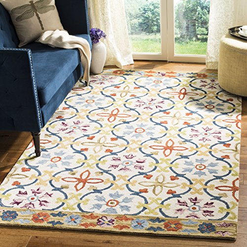 Safavieh Suzani Collection SZN310B Hand-Hooked Ivory and Multi Wool Area Rug (8' x 10')