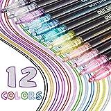 12 Rotuladores de Doble Línea Marcadores de Contorno Bolígrafos Permanentes de Doble Contorno Marcadores Metálicos Auto-Contorno Rotuladores de Pintura de Colores para Tarjeta Pascua