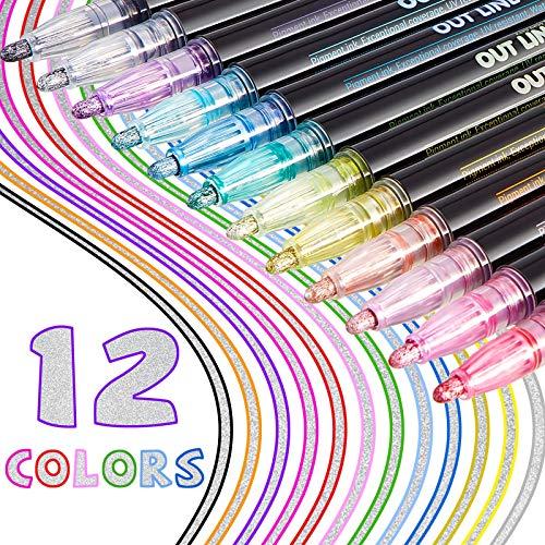 12 Pieces Double Line Outline Pens Markers Metallic Markers Permanent Markers Shimmer Paint Markers Self Outline Markers Colored Marker Pens for Painting, Album, Scrapbook