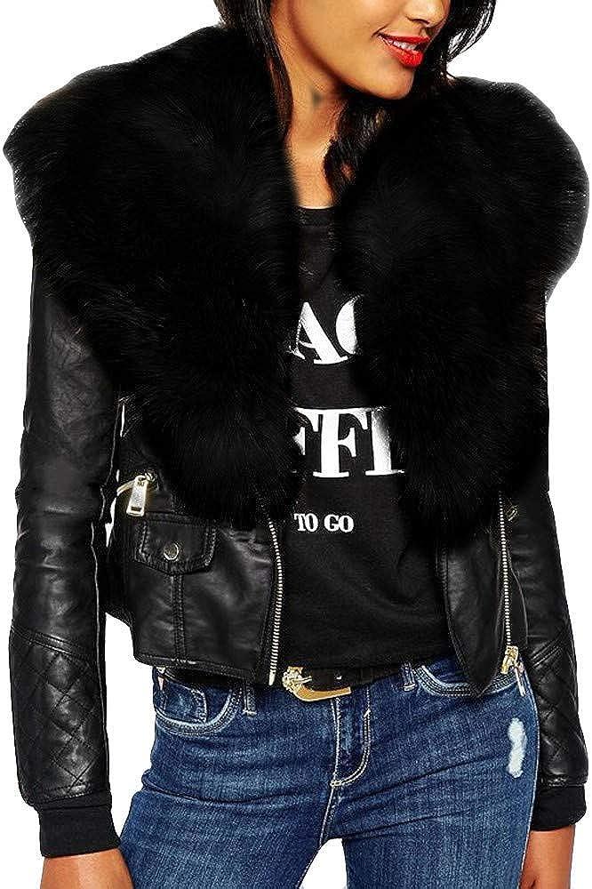 NIDOV Fleece Leather Jacket Women Bomber Coat Zipper Faux Motorcycle Winter Crop Outwear