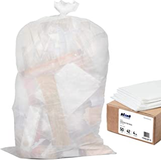 """""""Plasticplace 42 Gallon Contractor Trash Bags │ 4.0 Mil │Clear Heavy Duty Garbage Bags │ 33"""""""" x 48"""""""" (50 Case)"""" (CON51C)"""