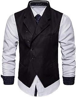 MU2M Men Notch Lapel Slim Fit Oblique Button Blazer Waistcoat Coat