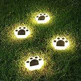 SUAVER - Lámpara solar de suelo, 2 unidades, resistente al agua, LED, para exterior, lámpara solar de jardín, garra de oso, luz decorativa exterior, para entrada/césped/acero/patio (blanco cálido)
