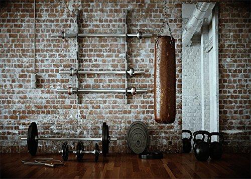 YongFoto 3x2m gymnase Fond Intérieur salle fitness toiles fond pour photographie équipements salle sport style shabby Mur briques Obscures Grunge Wood sol en vinyle Photo Fond Homme Femme Studio Props