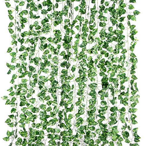 Yizhet Guirnalda Hiedra Artificial, 12 Piezas 2,2m Ojas Artificial Guirnalda Planta Artificiales Colgantes Decoración Hojas Vid Follaje Plantas Falsas para Pared Ventana Interior Exterior