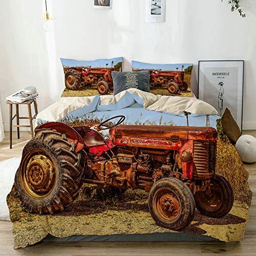 MJIAX Bedding Juego de Funda de Edredón,Beige,Diseño Rojo Viejo del Tractor,1 Funda Nórdica 200x200 + 2 Funda de Almohada