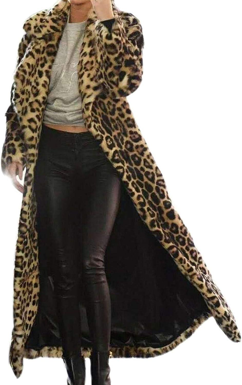 Women Faux Fur Long Coat,Leopard Long Sleeve Lapel Jacket Outwear Oversized Plus Size Pocket Tops Blouse