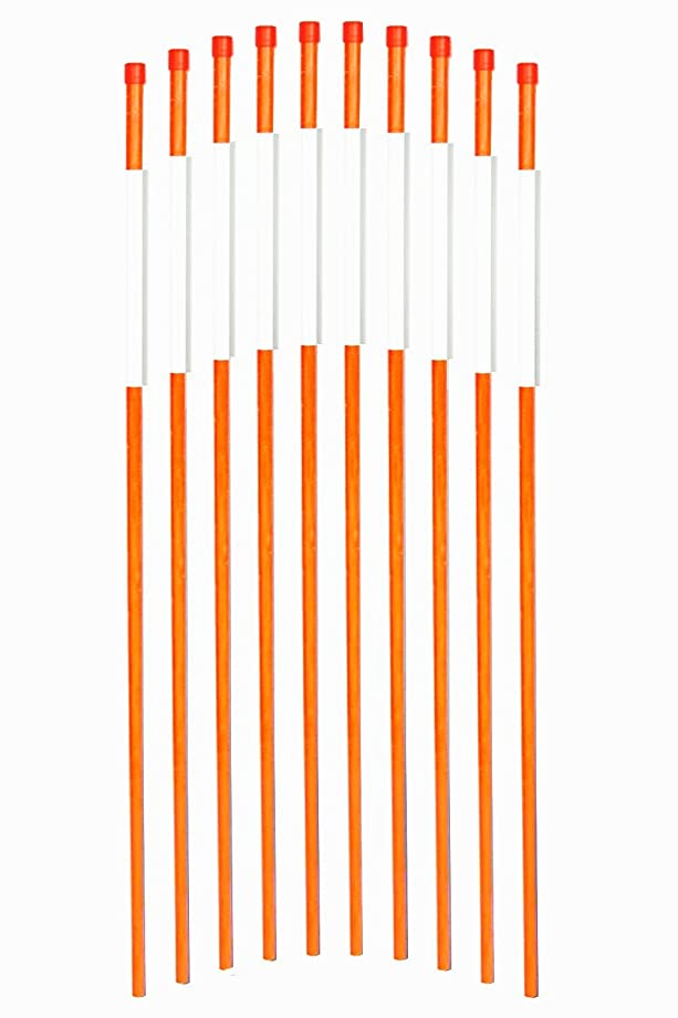 FiberMarker Driveway Markers 24-Inch Orange 20-Pack 1/4-Inch Dia Solid Snow Poles Snow Markers Snow Stakes