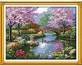 The Beautiful Scenery of Park Japan Style Cherry Counted Stamped Cross Stitch kit for Living Room Decoration Wall Art Embroidery (11ct Print Fabric)