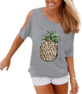 Weigou Summer Woman T Shirt Off Shoulder Casual Short Sleeve T-Shirt Hollow Out Sleeve Blouse Pineapple Printed Lady Tops