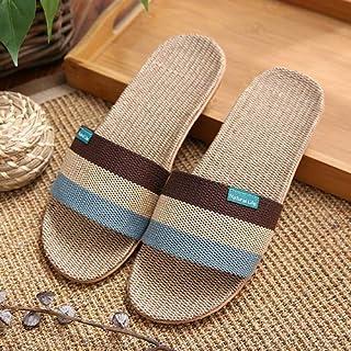 grigio adatto per 39-40 LSGDSXMIY Pantofola in lino coppia estiva coperta antiscivolo fondo morbido in legno a righe supporto in cotone e sandali e ciabatte da uomo 40-41