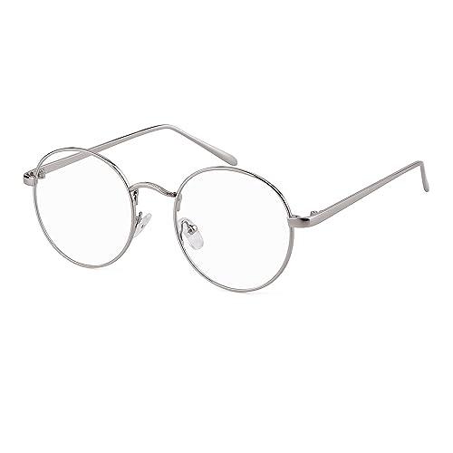 697dfc3d1e ADEWU Men Women Retro Round Glasses with Slender Metal Frame