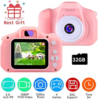 TekHome 2019 Toddler Toys for 3 Year Old Girls | 1080P Digital Kids Camera Pink with Games for Girls with 32GB SD Card | Toys for Girls Age 4 5 | Christmas Birthday Gifts for 6 7 8 Year Old Girls.