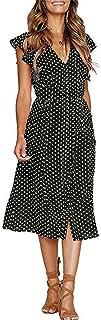 Womens Summer Polka Dot Dresses Boho Button Up Ruffle Sleeve V-Neck A-Line Swing Midi Dress