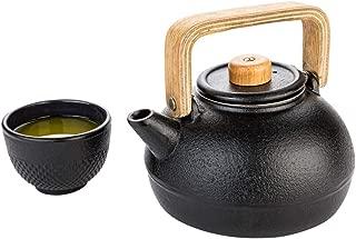 Restaurantware RWM0078B Tetsubin 30 oz Black Cast Iron Osaka Teapot Wooden Handle and Knob 7 5 1/2