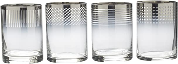 Mikasa Cheers Metallic Ombre Double Old Fashioned Drinking Glass, 13-Ounce, Set of 4