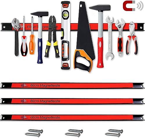 Set de 3 barres magnétiques pour outils 60cm 23kg charge Garage outils atelier cave